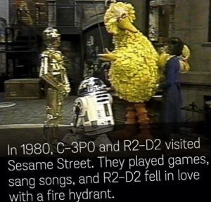 me🤖irl: In 1980, C-3PO and R2-D2 visited  Sesame Street. They played games,  sang songs, and R2-D2 fell in love  with a fire hydrant. me🤖irl