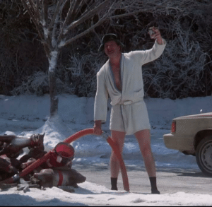 In 1989's National Lampoon's Christmas Vacation, Cousin Eddie can be seen emptying his RV's septic into a storm drain. This is because the shitter was full.: In 1989's National Lampoon's Christmas Vacation, Cousin Eddie can be seen emptying his RV's septic into a storm drain. This is because the shitter was full.