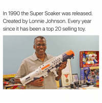 Memes, 🤖, and Super Soaker: In 1990 the Super Soaker was released  Created by Lonnie Johnson. Every year  since it has been a top 20 selling toy