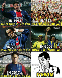 IYKWIM 🤔 ... 🔺FREE FOOTBALL EMOJI'S --> LINK IN OUR BIO!!! ➡️Credit: @originaltrollfootball: IN 1993  IN 1994  RAI CRAQUEJOINED PSG BRAZILWON THE WC  #AZR  N2001  IN 2002,  RONALDHINHOJOINED PSG BRAZIL WON THE WC  IN 2017', IYKWIM 🤔 ... 🔺FREE FOOTBALL EMOJI'S --> LINK IN OUR BIO!!! ➡️Credit: @originaltrollfootball