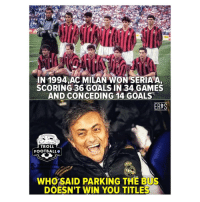 Football, Goals, and Memes: IN 1994,AC MILAN WON SERIA A,  SCORING 36 GOALS IN 34 GAMES  AND CONCEDING 14 GOALS  ERIS  TROLL  FOOTBALL  AL  WHOSAID PARKING THE BUS  DOESN'T WIN YOU TITLE Jose Mourinho 😂✋🚍