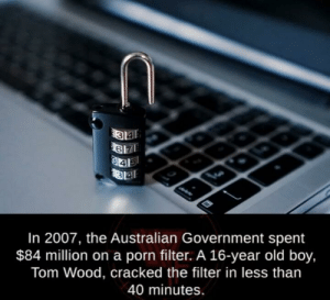 Using his big brain: In 2007, the Australian Government spent  $84 million on a porn filter. A 16-year old boy,  Tom Wood, cracked the filter in less than  40 minutes. Using his big brain