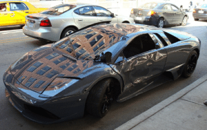 """In 2008 """"The Dark Knight"""", Bruce Wayne drives a convertible Lamborghini Murciélago Roadster which he rams into a into a police motorcade. In Spanish, """"Murciélago"""" translate to """"Bat"""": In 2008 """"The Dark Knight"""", Bruce Wayne drives a convertible Lamborghini Murciélago Roadster which he rams into a into a police motorcade. In Spanish, """"Murciélago"""" translate to """"Bat"""""""
