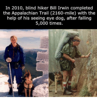 Respect, Help, and Bill Irwin: In 2010, blind hiker Bill Irwin completed  the Appalachian Trail (2160-mile) with the  help of his seeing eye dog, after falling  5,000 times. Respect https://t.co/0YAmn9W1Mq