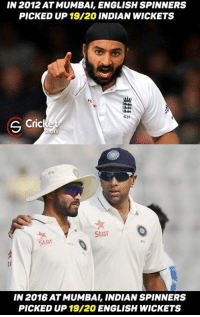 Memes, Indian, and 🤖: IN 2012 ATMUMBAL ENGLISH SPINNERS  PICKED UP 19/20 INDIAN WICKETS  Cricke  S Star  IN 2016AT MUMBAI, INDIANSPINNERS  PICKED UP 19/20 ENGLISH WICKETS India gave it back !