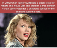 4chan, Memes, and School: In 2012 when Taylor Swift held a public vote for  where she would visit and preform a free concert  4chan users voted for a childrens school for the  deaf and won the vote https://t.co/DJ7hCPQ1Rl