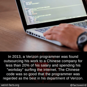 """Facts, Internet, and Memes: In 2013, a Verizon programmer was found  outsourcing his work to a Chinese company for  less than 20% of his salary and spending his  """"workday"""" surfing the internet. The Chinese  code was so good that the programmer was  regarded as the best in his department of Verizon  weird-facts.org  @factsweird"""
