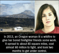 Bored, Friends, and Lit: In 2013, an Oregon woman lit a wildfire to  give her bored firefighter friends some work.  It spread to about 80 square miles, cost  almost $8 million to fight, and took two  months to get under control. https://t.co/AsSKfVPWeJ
