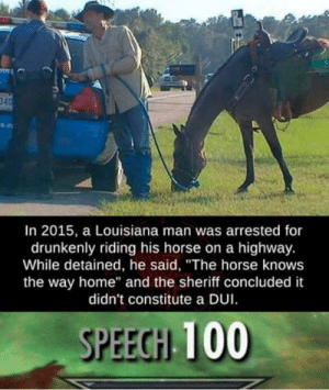 """srsfunny:Sure I guess: In 2015, a Louisiana man was arrested for  drunkenly riding his horse on a highway.  While detained, he said, """"The horse knows  the way home"""" and the sheriff concluded it  didn't constitute a DUI  SPEEGH 100 srsfunny:Sure I guess"""