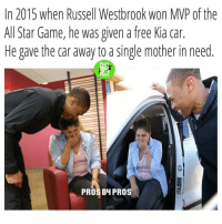 Russ a good dude, DoubleTap for Respect 💯 Cred: @prosb4pros: In 2015 when Russell Westbrook won MP of the  All Star Game, he was given a free Kia car.  He gave the car away to a single mother in need  PRO3  PROS  PROS BH PRO Russ a good dude, DoubleTap for Respect 💯 Cred: @prosb4pros