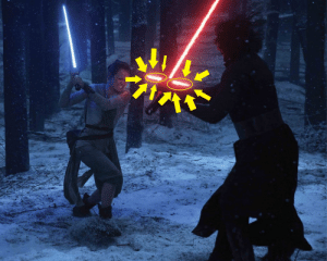 """In 2015's """"Star Wars: The Force Awakens"""", if you look *very* closely you can see that the villain's lightsaber has Cross-guards, otherwise known as """"Quillons"""".: In 2015's """"Star Wars: The Force Awakens"""", if you look *very* closely you can see that the villain's lightsaber has Cross-guards, otherwise known as """"Quillons""""."""