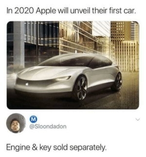 This is very real via /r/memes https://ift.tt/2wJUyb3: In 2020 Apple will unveil their first car.  @Sloondadon  Engine & key sold separately. This is very real via /r/memes https://ift.tt/2wJUyb3