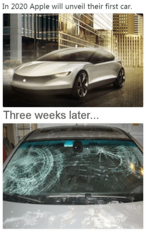 Apple, Car, and Three: In 2020 Apple will unveil their first car.  Three weeks later, Apple Car, three weeks after it gets unveiled.