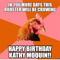 rooster: IN 206 MORE DAYS THIS  ROOSTER WILL BECROWING  HAPPY BIRTHDAY  KATHY MOQUIN!!  Memes