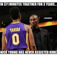 truefact: IN 371MINUTES TOGETHER FOR YEARS  @NBAMEMES  NICK YOUNG HAS NEVER ASSISTED KoBE truefact