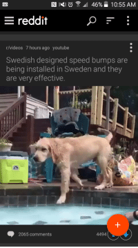 Thise damn, dirty swedes!: IN 46%  10:55 AM  E reddit  r/videos 7 hours ago youtube  Swedish designed speed bumps are  being installed in Sweden and they  are very effective.  2065 comments  4494 Thise damn, dirty swedes!