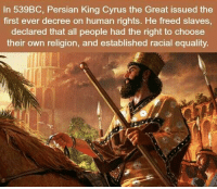 Memes, Persian, and Religion: In 539BC, Persian King Cyrus the Great issued the  first ever decree on human rights. He freed slaves  declared that all people had the right to choose  their own religion, and established racial equality https://t.co/ZFvIDJkIwF