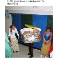 Baked, Funny, and Halloween: In 5th grade I was a baked potato for  Halloween If you @masturbate follow @masturbate 🔞