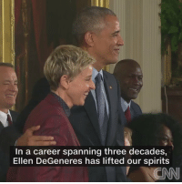 Obama awarded Ellen with the Medal of Freedom. This is so cute 😭: In a career spanning three decades,  Ellen DeGeneres has lifted our spirits  CNN Obama awarded Ellen with the Medal of Freedom. This is so cute 😭