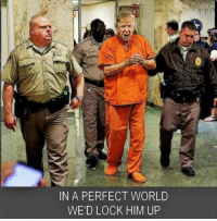 Donald Trump, Orange, and Trump: IN A PERFECT WORLD  WE'D LOCK HIM UP Share if you think Donald Trump should wear this orange jumpsuit permanently...