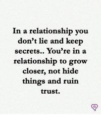 Memes, In a Relationship, and 🤖: In a relationship vou  don't lie and keep  secrets.. You're in a  relationship to grow  closer, not hide  things and ruin  trust.