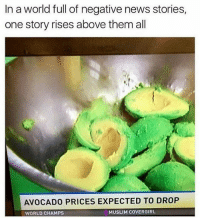 AVOCADO TOAST FOR ALL | 👉 Follow @some_bull_ish for the best memes: In a world full of negative news stories,  one story rises above them all  AVOCADO PRICES EXPECTED TO DROP  WORLD CHAMPSs  MUSLIM COVERGIRL AVOCADO TOAST FOR ALL | 👉 Follow @some_bull_ish for the best memes