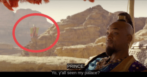 """In Aladdin (2019) Will Smith summons a Prince, who is dressed in Pink and Green and referencing his """"Palace"""" - an Easter egg reference to The Fresh Prince of Bel Air: In Aladdin (2019) Will Smith summons a Prince, who is dressed in Pink and Green and referencing his """"Palace"""" - an Easter egg reference to The Fresh Prince of Bel Air"""