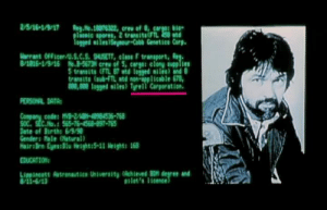 In Aliens (1986) The Nostromo captain Dallas's bio is seen in the background. Former employers are Tyrell Corporation. The Synthetic building company from Blade Runner.: In Aliens (1986) The Nostromo captain Dallas's bio is seen in the background. Former employers are Tyrell Corporation. The Synthetic building company from Blade Runner.