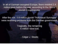"Memes, Survivor, and Lost: In all of German-occupied Europe, there resided 2.4  million jews before the war, according to the World  Jewish Encyclopedia  After the war, 3.8 million jewish ""Holocaust Survivors""  were receiving pensions from the German government.  Tragically, the remaining  6 million were lost.  Edgar J. Steele Can you do the math?"