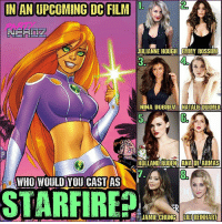 "Anime, Memes, and Nerd: IN AN UPCOMING C FILM  2  JULIANNE HOUGH EMMY ROSSUM  3.  NINA DOBREU NATALIE DORMER  S.  HOLLAND RODEN ANA DE ARMAS  7.  8.  OWHO WOULD YOU CAST AS  STARFIRE If you had to select between these (8) actresses to cast as STARFIRE in an upcoming DC film (Doesn't have to be ""Teen"" Titans necessarily... WHO WOULD YOU CHOOSE?? . . 1. Juliannehough @juleshough 2. Emmyrossum @emmyrossum 3. NinaDobrev @nina 4. Nataliedormer 5. HollandRoden @HollandRoden 6. AnaDeArmas 7. JamieChung @jamiejchung 8. LiliReinhart @liliReinhart . . (If you had someone else in mind... PLEASE choose from ONE in image THEN write who you'd want over all of them) . . dccomics dcfilms cast TeenTitans JusticeLeague BeastBoy starfire heroes anime superman injustice2 robin nerd geekgirl cosplay Raven"