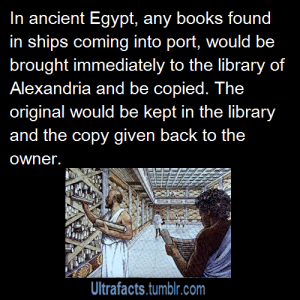 Books, Facts, and Fae: In ancient Egypt, any books found  in ships coming into port, would be  brought immediately to the library of  Alexandria and be copied. The  original would be kept in the library  and the copy given back to the  owner.  Ultrafacts.tumblr.com fae-of-the-rose: thors-glorious-golden-locks:   holy-crap-someone-finally:   nerdgirl-to-the-rescue:   ohmygil:   ultrafacts:  aussietory:  third-way-is-best-way:  tuxedoandex:  kvotheunkvothe:  ultrafacts:  Source For more facts follow Ultrafacts  EVERY TIME SOMEONE BRINGS UP THE LIBRARY OF ALEXANDRIA I GET SO ANGRY.  but why  Because it got burned. All of that knowledge, lost forever.   The library was destroyed over 1000's of years ago. The library consisted of thousands of scrolls and books about mathematics, engineering, physiology, geography, blueprints, medicine, plays,  important scriptures. Thinkers from all over the Mediterranean used to come to Alexandria to study.Most of the major work of civilization up until that point was lost. If the library still survived till this day, society may have been more advanced and we would sure know more about the ancient world.    That graphic grinds my gears every time I see it     It was burnt down accidentally by Caesar in 48 BC   We should totally just stab Caesar   Fifteen times even