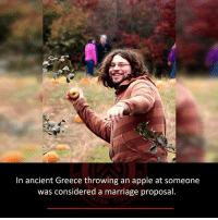 marriage proposal: In ancient Greece throwing an apple at someone  was considered a marriage proposal.