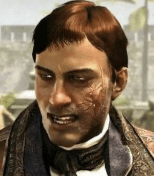 In Assassin's Creed IV: Black Flag, Woodes Rogers has a scar on his cheek. In actuality, Rogers earned this during a battle with a Spanish Galleon, the Incarnación, in which a musketball tore through his cheek and jaw. The Spanish Galleon was captured by Rogers.: In Assassin's Creed IV: Black Flag, Woodes Rogers has a scar on his cheek. In actuality, Rogers earned this during a battle with a Spanish Galleon, the Incarnación, in which a musketball tore through his cheek and jaw. The Spanish Galleon was captured by Rogers.