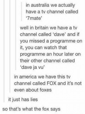 America, Australia, and Watch: in australia we actually  have a tv channel called  7mate'  well in britain we have a tv  channel called 'dave' and if  you missed a programme on  it, you can watch that  programme an hour later on  their other channel called  'dave ja vu  in america we have this tv  channel called FOX and it's not  even about foxes  it just has lies  so that's what the fox says What? No foxes?!?
