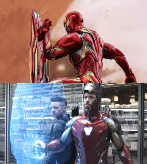 Iron Man, Shit, and Avengers: In Avengers: Infinity War (2018), we see that Iron Man can create a shield from nano-particles, but in Avengers: Endgame (2019), he puts a holographic shield in front of Hawkeye. This is a nod to the fact that Tony doesn't really give a shit about Clint's safety.