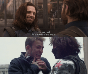 In Avengers: Infinity War (2018), when asked how he's been, Bucky told Captain America that he's not bad. This is because he's not a bad guy anymore.: In Avengers: Infinity War (2018), when asked how he's been, Bucky told Captain America that he's not bad. This is because he's not a bad guy anymore.