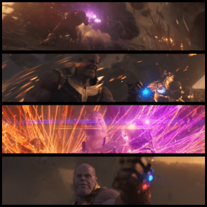 In Avengers: Infinity War, Thanos has to use all four of his infinity stones to defeat Dr Strange, sometimes using two stones at a time to get past Strange's spells.: In Avengers: Infinity War, Thanos has to use all four of his infinity stones to defeat Dr Strange, sometimes using two stones at a time to get past Strange's spells.