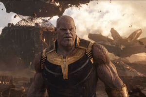In Avengers : Infinity War, Thanos is pink, wears no armor and looks like Josh Brolin. This is taken directly from the comics, where Thanos wears armor, is purple, and looks nothing like Josh Brolin.: In Avengers : Infinity War, Thanos is pink, wears no armor and looks like Josh Brolin. This is taken directly from the comics, where Thanos wears armor, is purple, and looks nothing like Josh Brolin.