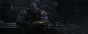 In Avengers: Infinity War, Thanos sits down.: In Avengers: Infinity War, Thanos sits down.