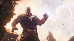 In Avengers: Infinity War, Thanos wears the gauntlet on his left hand. This is a subtle reference to his plan of killing all right handed life in the universe.: In Avengers: Infinity War, Thanos wears the gauntlet on his left hand. This is a subtle reference to his plan of killing all right handed life in the universe.