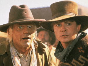 In Back To The Future III (1990), the main characters travel back to 1885. What people don't know is that the directors had to use a fictional Western town set in the present. This is due to the fact that cinema wasn't invented until 1895, 10 years later.: In Back To The Future III (1990), the main characters travel back to 1885. What people don't know is that the directors had to use a fictional Western town set in the present. This is due to the fact that cinema wasn't invented until 1895, 10 years later.