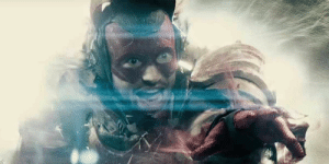In Batman v Superman (2016), the Flash travels back in time to deliver a message to Bruce Wayne. This is actually Ezra Miller warning Batman to stop him from choking people.: In Batman v Superman (2016), the Flash travels back in time to deliver a message to Bruce Wayne. This is actually Ezra Miller warning Batman to stop him from choking people.