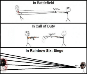 laughoutloud-club:  Shotguns in First Person Shooters: In Battlefield  BANG  In Call of Duty  SANG?  In Rainbow Six: Siege laughoutloud-club:  Shotguns in First Person Shooters