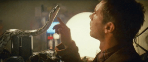 In Blade Runner, (1982) Harrison Ford's character specifically interacts with a snake as a reference to Ford's other character Indiana Jones who has a fear of snakes.: In Blade Runner, (1982) Harrison Ford's character specifically interacts with a snake as a reference to Ford's other character Indiana Jones who has a fear of snakes.