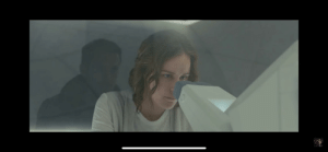 In BLADE RUNNER 2049's memory lab scene, K's reflection is shown as if peaking behind the head of Ana while she looks at his memory, alluding to the fact that he's actually been seeing her memory the entire film as we learn later on.: In BLADE RUNNER 2049's memory lab scene, K's reflection is shown as if peaking behind the head of Ana while she looks at his memory, alluding to the fact that he's actually been seeing her memory the entire film as we learn later on.