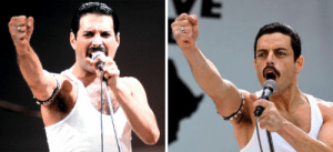 In Bohemian Rapsody (2018), Rami Malek's character isn't fictional, as most people believe, but based on the real singer Freddie Mercury, as we can check in this comparison picture.: In Bohemian Rapsody (2018), Rami Malek's character isn't fictional, as most people believe, but based on the real singer Freddie Mercury, as we can check in this comparison picture.