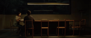 In Bong Joon-ho's Parasite (2019), after the Park family comes back early from their camping trip, and Mrs. Park is talking to Chung-Sook, there are 10 chairs at the dinner table, each representing all the people in the house.: In Bong Joon-ho's Parasite (2019), after the Park family comes back early from their camping trip, and Mrs. Park is talking to Chung-Sook, there are 10 chairs at the dinner table, each representing all the people in the house.