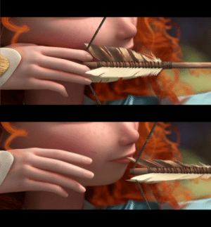 Arrow, Brave, and Her: In Brave (2012), the third arrow Merida shoots during the archery contest leaves a slight cut on her cheek as it goes.