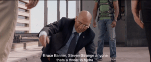 In Captain America: Winter Soldier (2014) When Cap is interrogating Sitwell about Zola's algorithm (An AI that uses people past to predict their future) he lists a few people that come up as threats, one of them being Dr. Strange. This movie was set 2 years before the events of Doctor Strange.: In Captain America: Winter Soldier (2014) When Cap is interrogating Sitwell about Zola's algorithm (An AI that uses people past to predict their future) he lists a few people that come up as threats, one of them being Dr. Strange. This movie was set 2 years before the events of Doctor Strange.