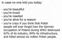 Alive, Memes, and Germanic: in case no one told you today:  you're beautiful  you're loved  you're needed  you're alive for a reason  you're crazy if you think that Polish  people will ever forget how the German  occupation of Poland during WW2 destroyed  62% of its industry, 84% its infrastructure,  and killed almost six million Polish people.